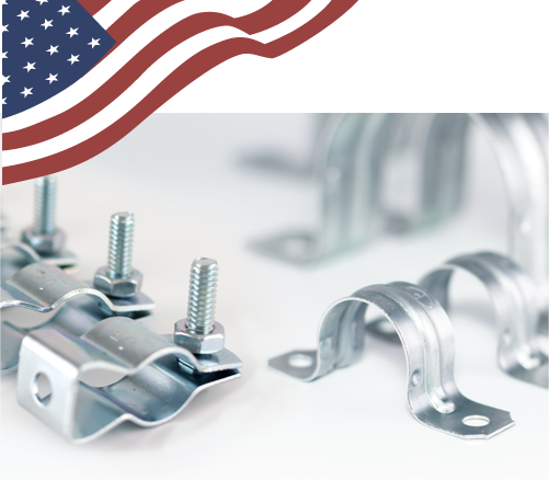 Image of custom US conduit hangers | conduit straps with flag